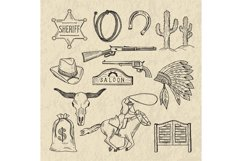 Monochrome hand drawn illustrations of different wild west s Product Image 1