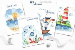 Watercolor Sea adventure. Clipart, seamless patterns, cards Product Image 4