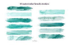 Emerald brush strokes clipart, green watercolor PNG elements Product Image 2