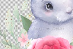 Bunny and Flowers. Cute clipart Product Image 4