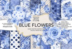 Watercolor BLUE FLOWERS digital paper pack Product Image 1