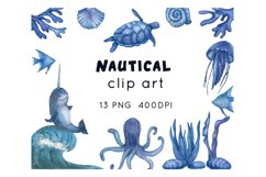 Ocean animals watercolor clipart Product Image 1
