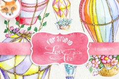 Air Balloons Romantic Wedding Digital, Watercolor Valentine Product Image 1