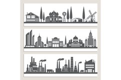Set of horizontal banners with monochrome illustrations of u Product Image 1