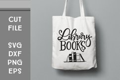Library Books, Hand Lettered, Cut File Product Image 1