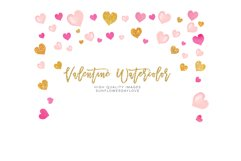 Pink Valentines frames, Heart wreaths, Pink borders clipart Product Image 1