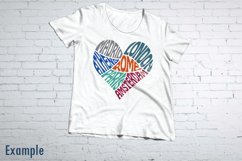 Wanderlust Europe travel SVG cut file in a Heart Shape Product Image 2