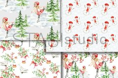 Little Skater Christmas Background Pattern Product Image 3