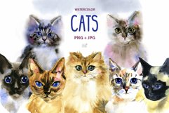 Watercolor cats clipart Product Image 1