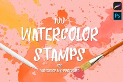 100 Watercolor Stamp Brushes for Procreate and PS Product Image 1