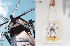 Watercolor Windmills. Cards, frames, wreaths, patterns Product Image 9