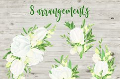 Watercolor white flowers arrangements. Tulips and Freesias. Product Image 4