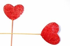 7 Red Fabric Hearts on Sticks Crafter Background Product Image 6