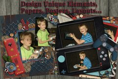Play Hard Gaming Themed Digital Scrapbooking Templates Product Image 5