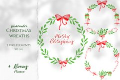 Watercolor Christmas Wreaths. Hand drawn holiday cliparts Product Image 1