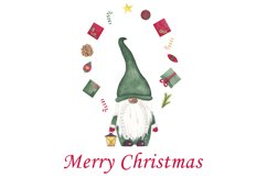 Watercolor christmas gnomes clipart, Christmas card design Product Image 1