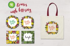 Botanical tropical vector set of fruits and leaves Product Image 3