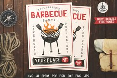 Barbecue SVG Card BBQ Flyer Template Editable DXF PNG Poster Product Image 1