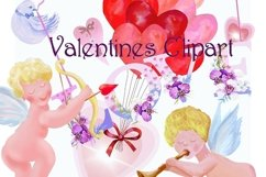 Valentine's watercolor clipart,digital papers Product Image 2