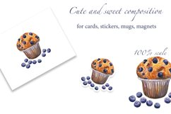 Blueberry Muffin. Watercolor pattern and card, JPG, PNG Product Image 3