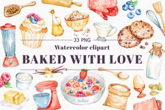 Baking Watercolor Clipart. Kitchen clipart. PNG Product Image 1