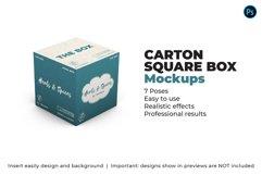 Carton Square Box Mockup - 100x100x100 - 7 Poses Product Image 1