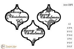 Arabesque Tile Christmas Ornament . Lantern SVG Cut File Product Image 2