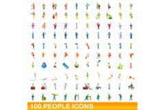100 people icons set, cartoon style Product Image 1