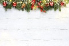 Christmas composition of red decoration with fir branches Product Image 1