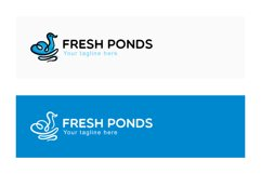 Fresh Ponds - Continuous Line Style Floating Swan Stock Logo Product Image 2