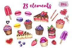 Desserts. Watercolor set. Clipart Product Image 2