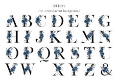 Alphabet, letters and numbers with watercolor blue flowers Product Image 2