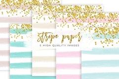 Stripe Confetti Gold Paper Texture, mint Stripe Paper Texture, pink gold Stripe Confetti Paper, Cream paper, printable paper, party supplies Product Image 1