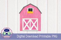 Watercolor Pink Barn Product Image 1