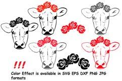 Cow with Flowers SVG, Bandanna Flower , Heifer SVG -74SV Product Image 2