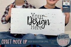 Boys holding long white sign Craft mock up Product Image 1