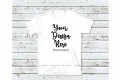 White T-Shirt Mock Up, Unisex Women Youth Gildan Shirt Product Image 1