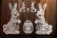 Easter Bunny svg Ornate Easter Egg Mandala Zentangle Rabbit Product Image 1