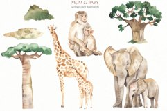 Mom and baby animals Watercolor Product Image 10