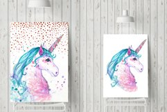 Hand painted watercolor illustration of Unicorn Product Image 2