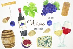 Watercolor Wine Clipart, Wine Clip Art, Wine Bottle Clipart Product Image 1