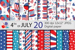 4th of July Digital Paper / USA Independence Day backgrounds / American patriotic Scrapbook paper Product Image 1