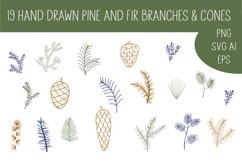 Pine cone, pine branches SVG Files Product Image 1