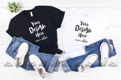 Black And White Bella Canvas 3001 T Shirt Mockup Product Image 1