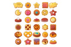 Biscuit cookies icons set, flat style Product Image 1