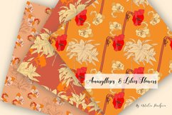 Digital Paper Burnt Orange Flowers Product Image 3
