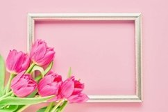 Golden frame with pink tulips on pink background. Product Image 1