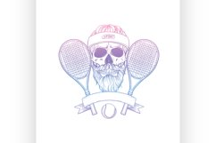 Sketch, skull with tennis racquet Product Image 1