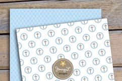 Boy Baptism Digital Papers, Cross Dove Clipart, Product Image 4