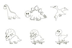 Dinosaur vector clipart. Baby animal for children. Product Image 2